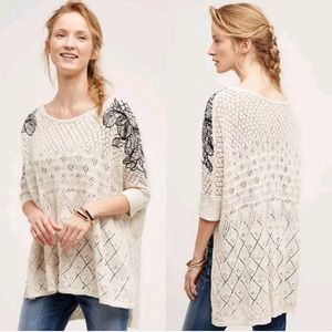 Anthropologie Knitted Knotted LAUNA Embroidered